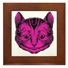 Cheshire Cat Pink Fill Framed Tile