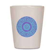 spiritual meditation mandala (aqua) Shot Glass