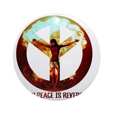 when peace is reversed Round Ornament