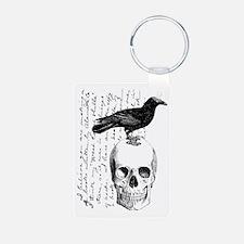 Vintage Raven & Skull Aluminum Photo Keychain
