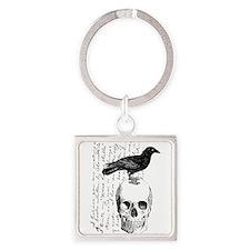 Vintage Raven & Skull Square Keychain