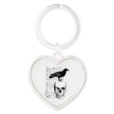 Vintage Raven & Skull Heart Keychain