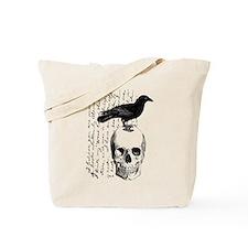 Vintage Raven & Skull Tote Bag