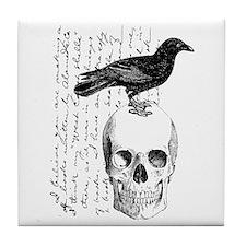 Vintage Raven & Skull Tile Coaster