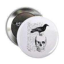 "Vintage Raven & Skull 2.25"" Button"
