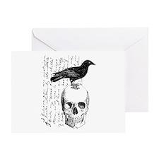 Vintage Raven & Skull Greeting Card