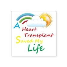 "Heart Transplant Rainbow Cl Square Sticker 3"" x 3"""