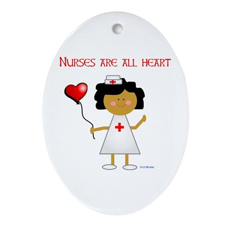 Nurses are all heart Oval Ornament