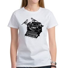 Vintage B&W Typewriter & Birds Tee