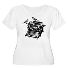 Vintage B&W Typewriter & Birds T-Shirt