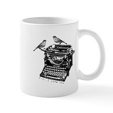 Vintage B&W Typewriter & Birds Mug