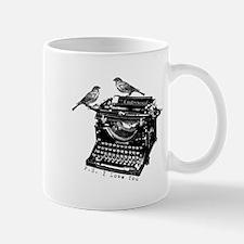 Vintage B&W Typewriter & Birds Small Small Mug