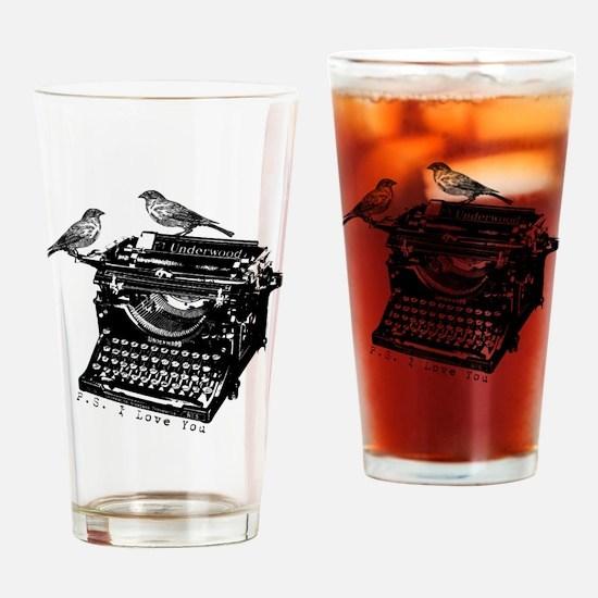 Vintage B&W Typewriter & Birds Drinking Glass