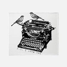Vintage B&W Typewriter & Birds Throw Blanket