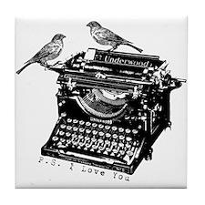 Vintage B&W Typewriter & Birds Tile Coaster