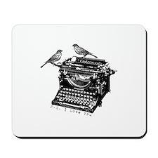 Vintage B&W Typewriter & Birds Mousepad