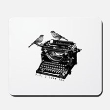 Vintage B&W Typewriter & Birds Mousepad