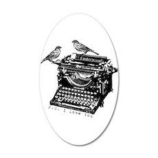 Vintage B&W Typewriter & Birds Wall Decal