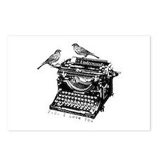 Vintage B&W Typewriter & Birds Postcards (Package