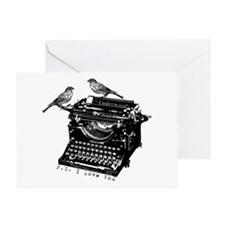 Vintage B&W Typewriter & Birds Greeting Card