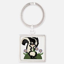 funny skunk with flowers Square Keychain