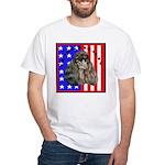 Black Poodle White T-Shirt