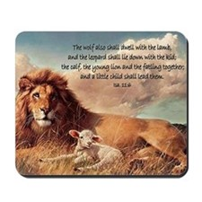 greeting card lion and lamb Mousepad