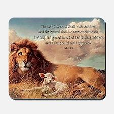 greeting card lion and lamb Mousepad