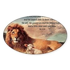greeting card lion and lamb Bumper Stickers