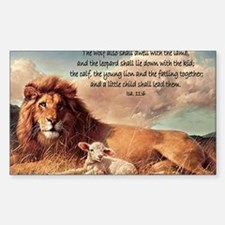 greeting card lion and lamb Sticker (Rectangle)