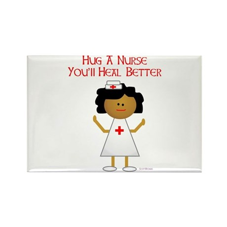 Hug A Nurse Rectangle Magnet