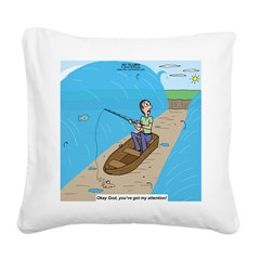 Fishing with God Square Canvas Pillow