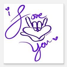 """i_love_you_american_sign Square Car Magnet 3"""" x 3"""""""
