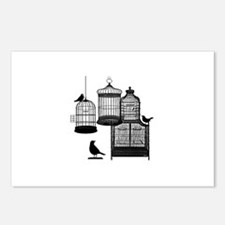 3 Bird Cages & Birds Postcards (Package of 8)