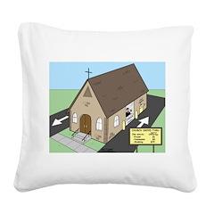 Church Drive-Thru Square Canvas Pillow