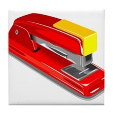 Red Office Stapler Tile Coaster