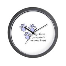 Blue dogs leave pawprints on your heart Wall Clock