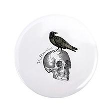 """Halloween Raven Skull 3.5"""" Button"""