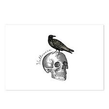Halloween Raven Skull Postcards (Package of 8)