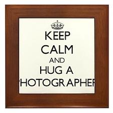 Keep Calm and Hug a Photographer Framed Tile