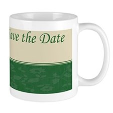 Save the date green Ncard Mug