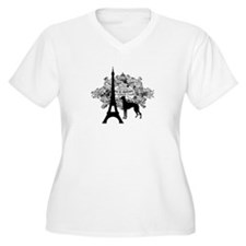 Eiffel Tower & Greyhound Dog T-Shirt