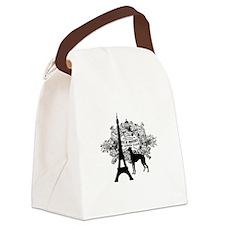 Eiffel Tower & Greyhound Dog Canvas Lunch Bag