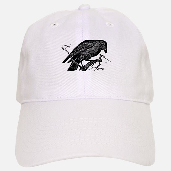 Vintage Raven in Tree Illustration Baseball Baseball Cap