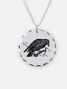 Vintage Raven in Tree Illustration Necklace