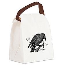 Vintage Raven in Tree Illustration Canvas Lunch Ba