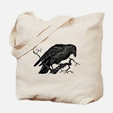 Vintage Raven in Tree Illustration Tote Bag