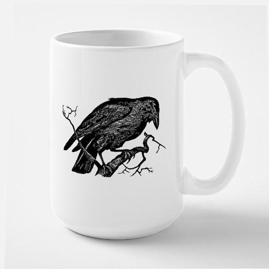 Vintage Raven in Tree Illustration Large Mug