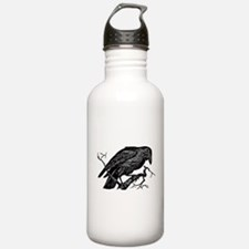 Vintage Raven in Tree Illustration Water Bottle