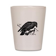 Vintage Raven in Tree Illustration Shot Glass